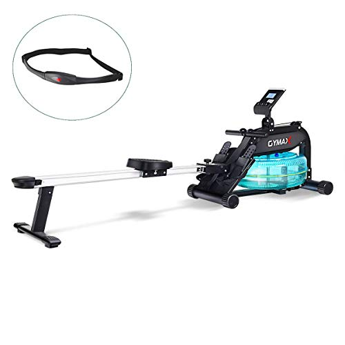 Goplus Water Rowing Machine, with Heart Rate Sensor, Indoor Rower with Adjustable Resistance Water...
