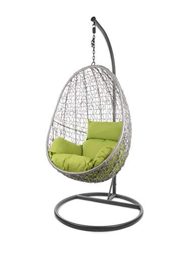 Kideo Komplettset: Hängesessel mit Gestell & Kissen, Indoor & Outdoor, Poly-Rattan (Gestell- und Korbfarbe: grau, Kissen: grün Nest (6068 Apple Green))