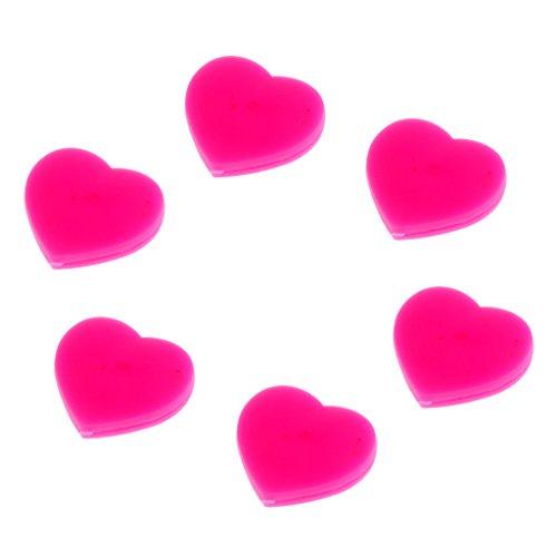 MagiDeal 6pcs Herz Form Vibrationsdämpfer Tennisschläger Stoßdämpfer - Rosarot