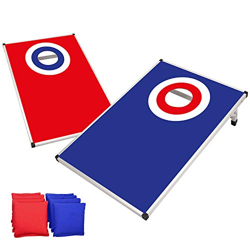 Offizielles Cornhole Target | Amerikanisches Cornhole Spiel | Aluminium | Premium Qualität | Offizielle Wettkampfmaße 2 Boards + 8 Säcke + 1 Schutzhülle | Outdoor und Strandspiel | OriginalCup®