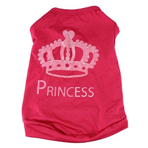 Fossen Ropa Perros Pequeña Corona de Princesa Patrón Camiseta Chaleco Mascota Ropa para Cachorros Hembra (XS, Rosa Caliente)