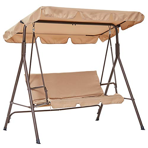 SUPERJARE 3 Person Outdoor Converting Patio Swing,...