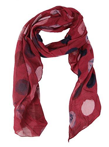 Cashmere Dreams Seiden-Tuch für Damen mit Punkt-Print von Zwillingsherz/Elegantes Accessoire für Frauen auch als Schal/Seiden-Schal/Halstuch/Schulter-Tuch oder Umschlagstuch einsetzbar (weinrot)