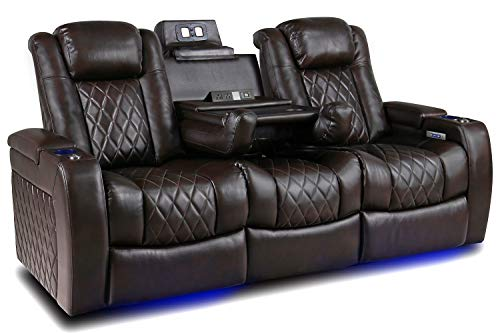 Valencia Tuscany Home Theater Seating | Premium Top Grain Italian Nappa 11000 Leather, Power Headrest, Power Lumbar Support, with Center Drop Down Console (Row of 3, Dark Chocolate)