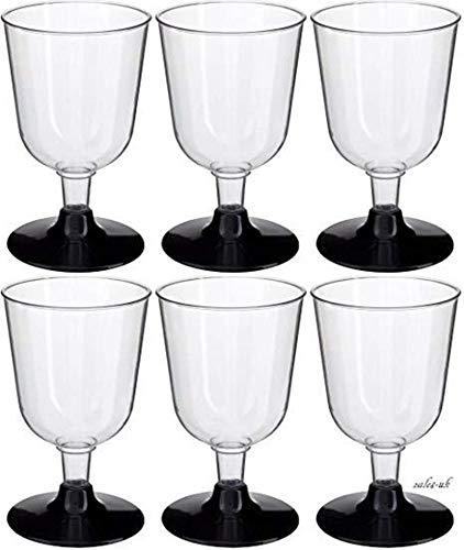 GSL - Copas de vino (30 unidades, base de plástico, 155 ml), color negro