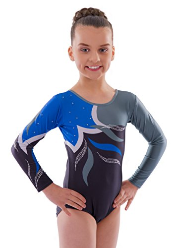 Vincenza Dancewear Girls Long Sleeved Leotard for Gymnastics (5-6 Years, Adagio (Long Sleeved))