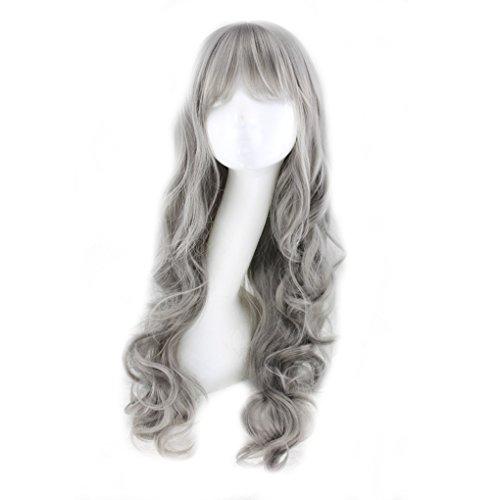 Mode-stijl rook grijze pruik golvende krullende lange hittebestendige cosplay pruiken + pruik cap