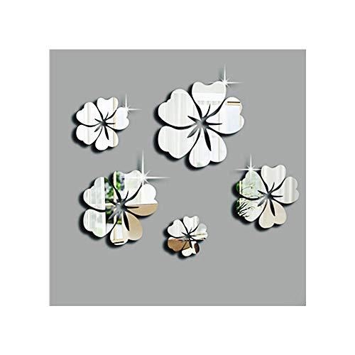 DIY Spiegel dreidimensionales Acryl Sticker - 3D Spiegel Blumenkunst - Deko für Wohnzimmer Schlafzimmer Küche Flur Oberfläche Aufkleber Home Office Decor (Sliver)