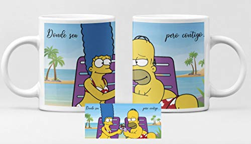 Desconocido Taza Pareja Simpsons. Taza de cerámica de café Homer Y Marge. San Valentín