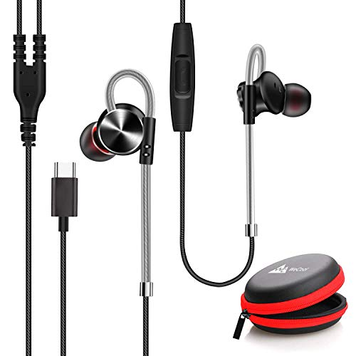 (Renewed) WeCool Mr. Bass W010 Unique Design Sports Metallic In-Ear USB Type C Earphone with Mic for Rich Basses and Noise Cancellation with One Plus 7/7 Pro/6T with Carry Case (Black)