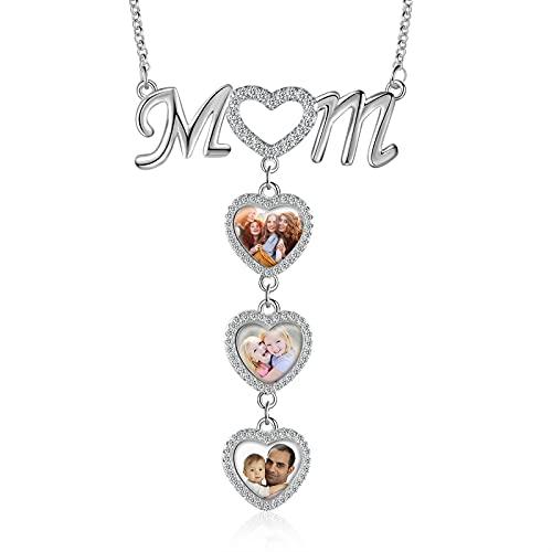 Rayiant Collar personalizado con foto para mamá y madre o abuela con grabado en forma de corazón, Latón,