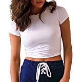 Jeemery Women's Short Sleeve Ribbed Crop Tops Tees Basic Crewneck Solid Color Slim Fit Tops T Shirts (White,Medium)
