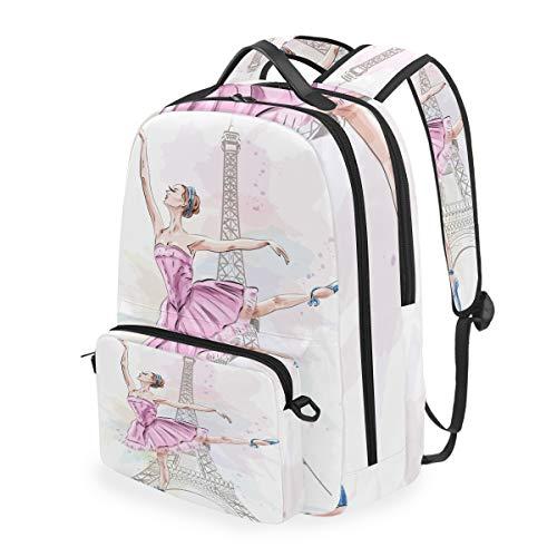 CPYang Zaino Scuola Francia Parigi Ballerino Staccabile Spalla Crossbody Bag Viaggio Laptop Backapck per Ragazze Ragazzi Donne Uomini