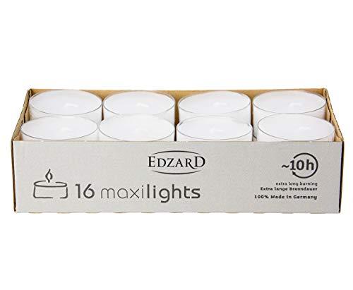 EDZARD 16 Stück Wenzel Maxilights Maxi-Teelichter, weiß, transparente Kunststoffhülle, ø 54 mm, ohne Duft