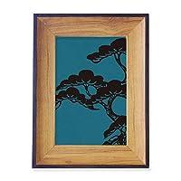 塗装は日本の文化・ブルー フォトフレーム、デスクトップ、木製