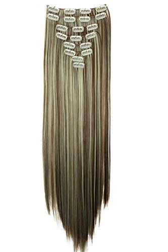 PRETTYSHOP XXL 8 pièces SET tête entière Clipser dans les extensions Extension de cheveux postiche résistant à la chaleur lisse 60 cm blond brun mix #6H613 CES15