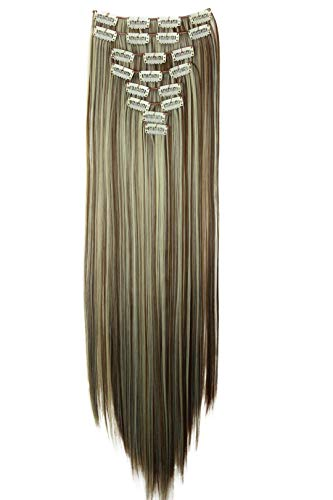 PRETTYSHOP XXL Full Head Set 8 pcs 24' Clip In Hair Extensions Hairpiece Smooth Straight Heat-Resisting brown blonde mix #6H613 CES15