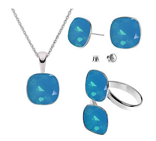 Beforya Paris – Plata 925 Square – Caribbean Blue Opal – Juego de pendientes – Collar y doble anillo de Swarovski – Joyas con caja de regalo gratis