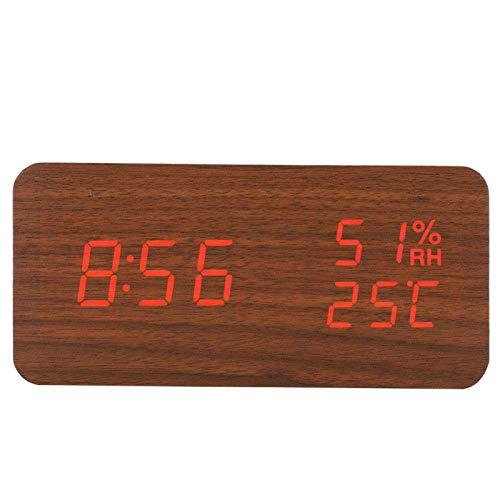 SALUTUYA Reloj Despertador Digital de Madera de Moda de Forma Rectangular para Dormitorio