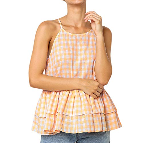Deelin dames zomer casual ruiten sling blouse O-hals schouder vest zonder mouwen dubbele zoom los design tank tops