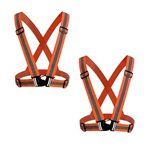 GOZAR 2 Piezas Alto Visibilidad Seguridad Chaleco Coche Camino Emergencia Advertencia Chaleco Mantener Seguro en Ciclismo Caminar y Practicar Deportes Al Aire Libre por la Noche-Naranja