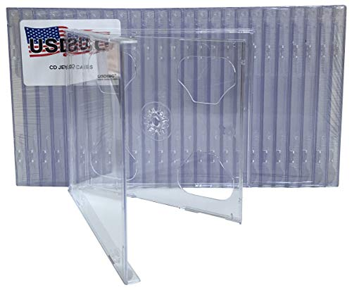 USDISC CD Jewel Cases Standard 10.4mm, Double 2 Disc, Clear, Pack of 100