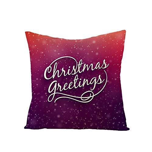 YYRY 4 Piezas/Juego de Fundas de Almohada cuadradas de Lino Suave Estilo Rojo navideño Decora tu sofá, Sala de Estar y Cama (sin Inserto ni Relleno)