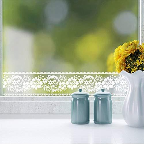 Transparente Bordüre aus weißer Spitze, 10 x 100 cm pro Rolle, selbstklebend, abnehmbar, wasserdicht, für Schaufenster, Fenster, Glastüren, Badezimmer, Fliesen, Spiegel