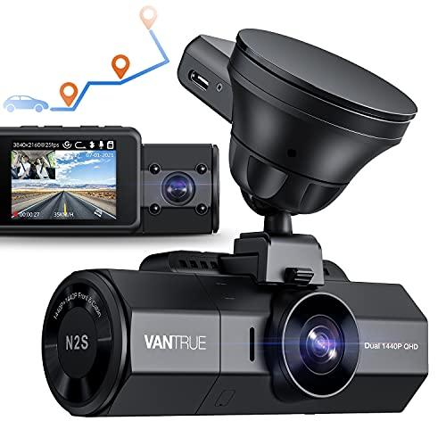 Vantrue N2S Dual 2.5K Dashcam mit GPS, 4K Single Front oder 1440P Front und Kabinen-Auto Dashboard Kamera mit Superkondensator, IR-Nachtsicht, Parkmodus, Bewegungssensor, unterstützt 256GB Max
