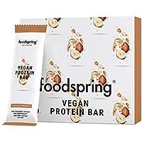 foodspring Barrita Proteica Vegana, 12 x 60g, Avellanas y Amaranto, tu snack proteico vegano con proteína 100% vegetal