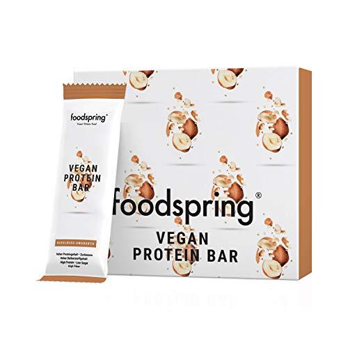 foodspring Barrita Proteica Vegana, 12 x 60g, Avellanas y Amaranto, Barrita proteica de origen vegetal sin aromas artificiales, bajo en azúcar y alto en proteína