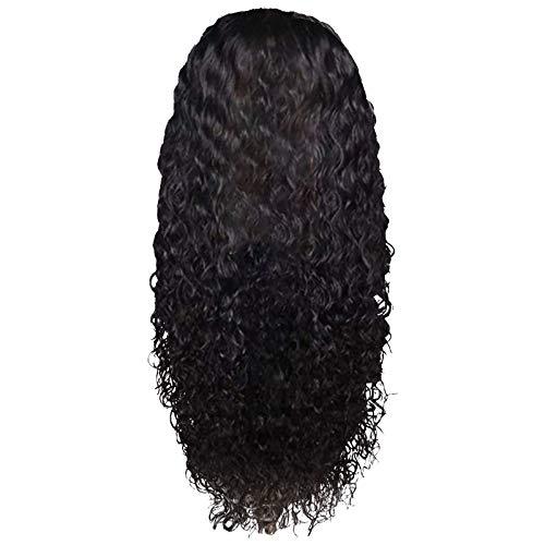 Perucas encaracoladas com tela frontal, cabelo humano pré-arrancado, perucas com fecho de renda, cabelo virgem brasileiro para mulheres negras, peruca longa encaracolada, densidade de cabelo humano com acessórios de cabelo de bebê