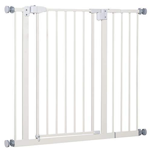 Pawhut Barrera de Seguridad Metálica para Puertas y Escaleras Mascotas Perros con Extensiones de 17,5 cm Sistema de Cierre Automático 74,5-102,5x76,2 cm Blanco