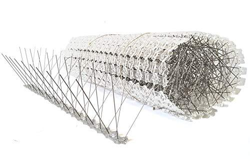 10 Meter Vogelabwehr, Taubenabwehr/ 4-reihig/ 20 Elemente a 50 cm/Taubenspikes aus Edelstahl auf UV-geschützter Polycarbonatleiste