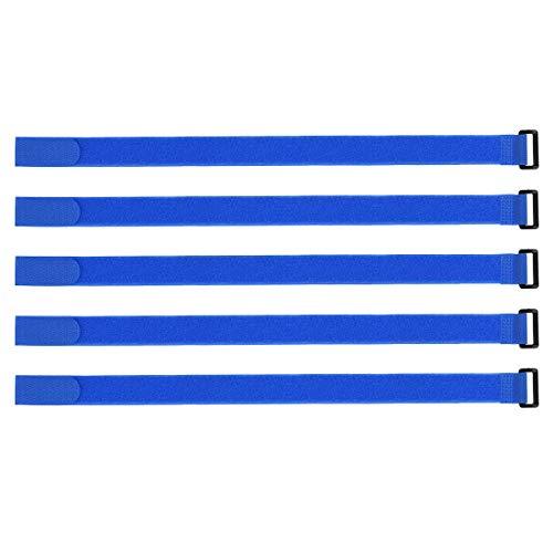 sourcing map 10Stk. Klettband 1-Zoll x 20-Zoll Sicherungsgurte Wiederverwendbarer Kabelbinder Blau