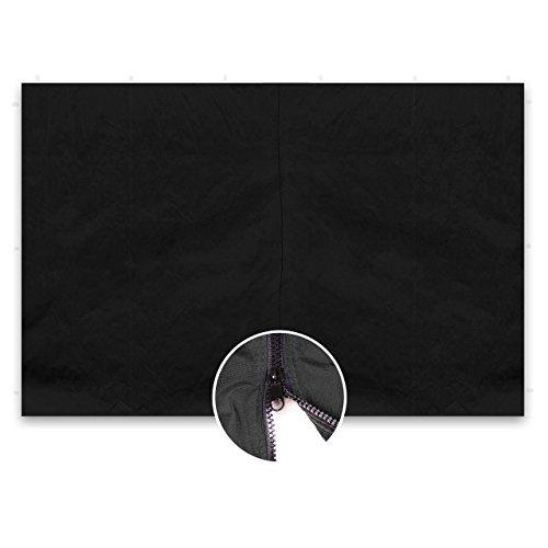 Nexos GM36249 2 Stück Seitenwände Seitenteile ohne Fenster mit Reißverschluss für Falt-Pavillon – 298 x 216 cm/PE 180 g/m² – hochwertig – Farbe wählbar (Schwarz)