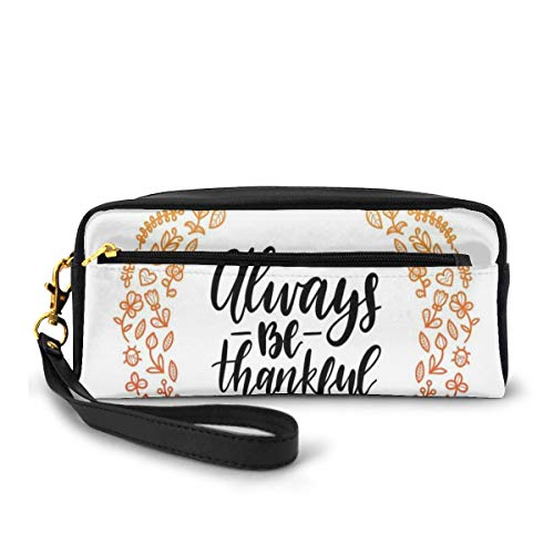 Pencil Case Pen Bag Pouch Stationary,Round Floral Wreath with Birds Doodle Style Nature Gratitude,Small Makeup Bag Coin Purse