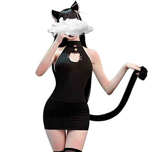 YOMORIO Anime Cat Lingerie Cute Cat Face Keyhole Bodycon Dresses Cosplay Costume (Black)