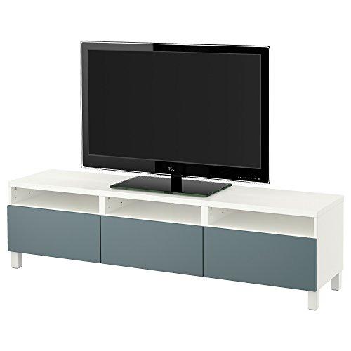 IKEA BESTA - TV Bank met laden wit / valviken grijs-turquoise
