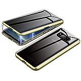 Jonwelsy Anti-Spy Funda para Samsung Galaxy S8, 360 Grados Proteccion Case, Privacidad Vidrio Templado Anti espía Cover, Adsorción Magnética Metal Bumper Cubierta para Galaxy S8 (Oro)