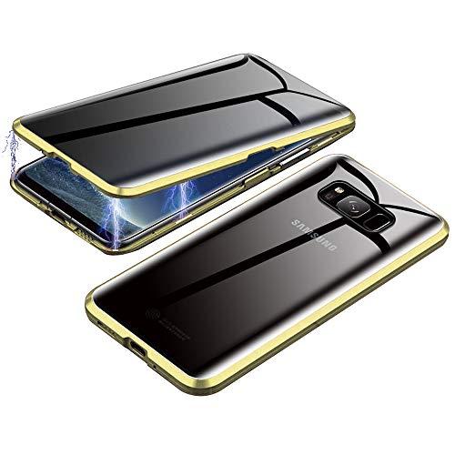 Jonwelsy Anti-Spy Cover per Samsung Galaxy S8, 360 Gradi Protezione Case, Privacy Vetro Temperato Anti Peep Custodia, Adsorbimento Magnetico Bumper Metallo Frame per Samsung Galaxy S8 (Oro)