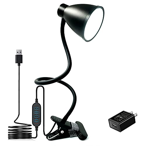 BOHON Desk Lamp 3 Color Modes 10 Brightness Dimmer Reading Light 10W 38 LED Clamp Lamp with Auto Off...