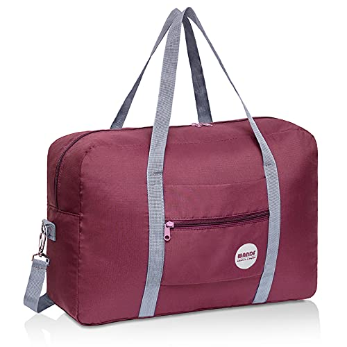 Wandf Foldable Travel Duffel Bag Luggage Sports Gym Water Resistant Nylon (D-Wine Red with Strap)