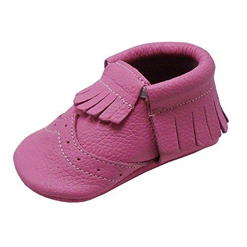 Mejale Chaussons en cuir à semelle souple pour bébé - - Rose, 23/24 EU