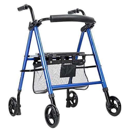 Rollator Schmal FüR Wohnung Senioren Walker Walking Frame Aid Leichte Mobilität Trolley Kinderwagen Roller Faltbar mit Sitz und Korb 4 Räder für Eldly