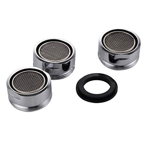 TOPBATHY Grifo de acero inoxidable para cocina, baño, 3 unidades, 24 mm, plateado