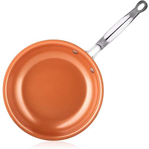 ZHIRCEKE Frying Pan Non-Stick Copper Red Pan Ceramic Induction Pan Pot Oven & Dishwasher Safe 8 Inch Non-Stick Pan