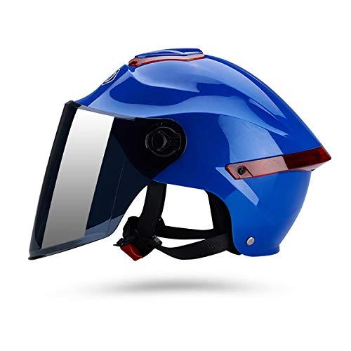 Galatée Casco de motocicleta con visera, adecuado para ciclomotores, scooters, cruceros, pase la prueba de colisión para cumplir con la seguridad vial(Azul, Lente marrón)