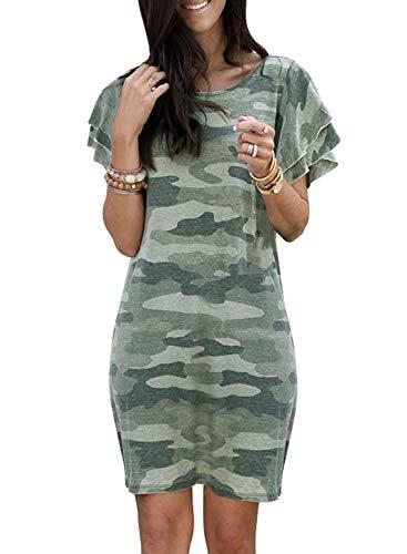 GOSOPIN Women Camo Ruffled Short Sleeve T Shirt Casual Mini Sundress X-Large Green