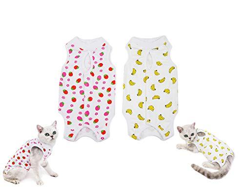Tineer 2 Packs E-Collar Alternativa para Gatos - Traje de recuperación quirúrgica Profesional para heridas Abdominales después de la cirugía - Ropa fisiológica para Gatitos (XL, Plátano + Fresa)